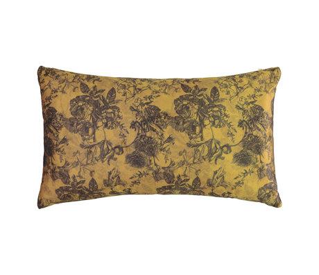 ESSENZA Coussin Vivienne en velours ocre jaune polyester 30x50cm