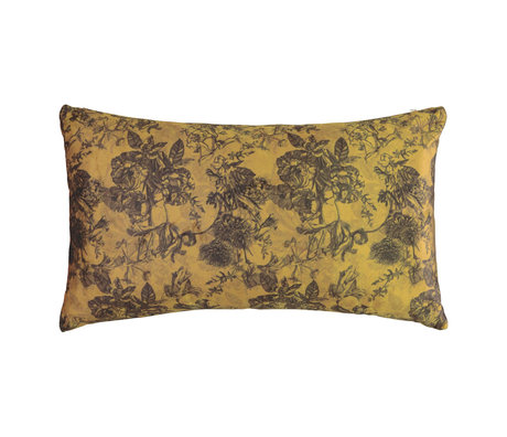ESSENZA Cushion Vivienne yellow ocher velvet polyester 30x50cm