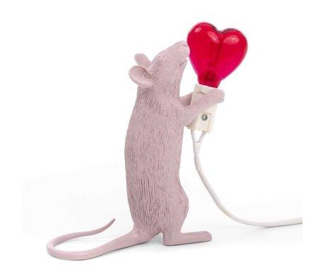 Seletti Tafellamp mouse roze kunststof 6,2x15x12cm