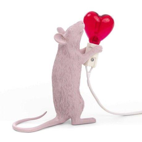 Seletti Lampe de table souris rose en plastique 6.2x15x12cm
