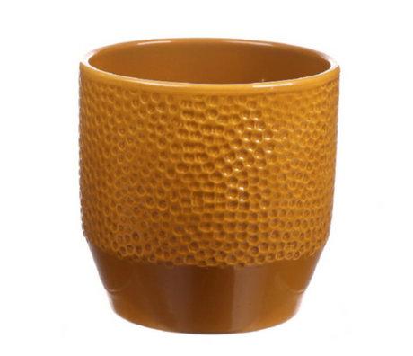 wonenmetlef Pot Pisa curry glazed ceramic Ø13.5x13.2 cm