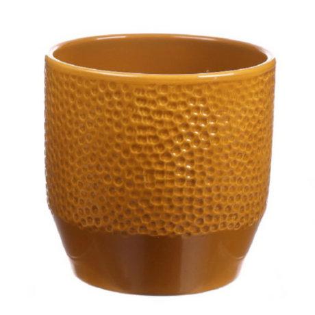 wonenmetlef Pot Pisa curry glazed keramiek Ø13,5x13,2cm