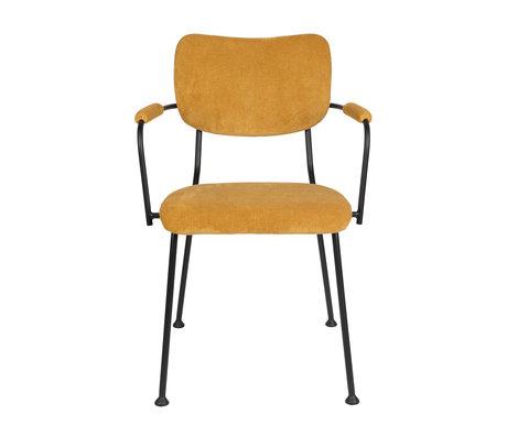Zuiver Chaise de salle à manger avec accoudoir Benson ocre jaune textile 55.5x56x81cm