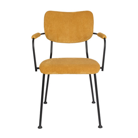 Zuiver Dining room chair with armrest Benson ocher yellow textile 55.5x56x81cm