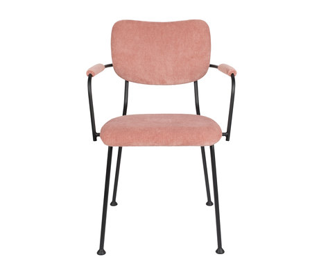 Zuiver Dining room chair with armrest Benson pink textile 55.5x56x81cm