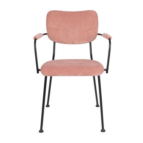 Zuiver Eetkamerstoel met armleuning Benson roze textiel 55,5x56x81cm