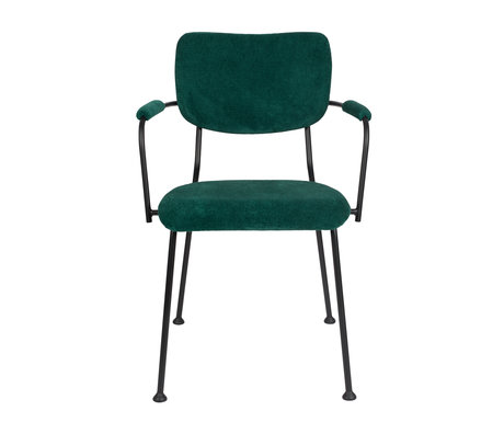 Zuiver Dining room chair with armrest Benson green textile 55.5x56x81cm