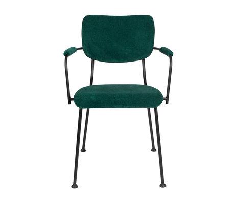 Zuiver Eetkamerstoel met armleuning Benson groen textiel 55,5x56x81cm