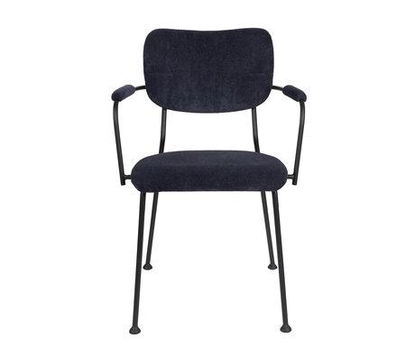 Zuiver Chaise de salle à manger avec accoudoir Benson textile bleu foncé 55.5x56x81cm