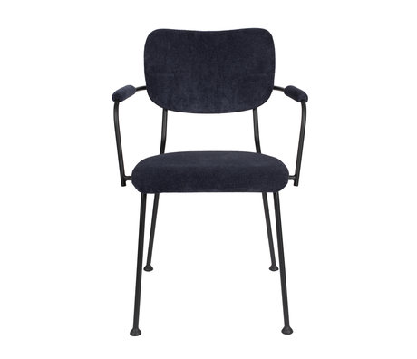 Zuiver Dining room chair with armrest Benson dark blue textile 55.5x56x81cm