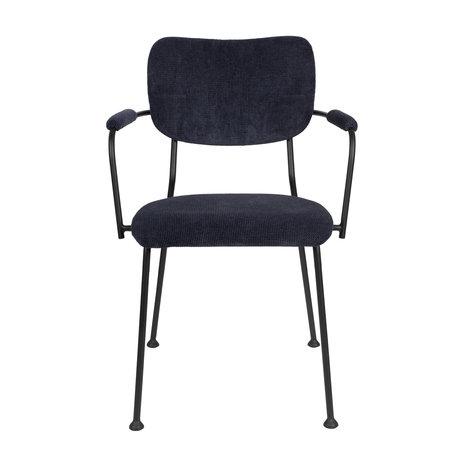 Zuiver Eetkamerstoel met armleuning Benson donker blauw textiel 55,5x56x81cm