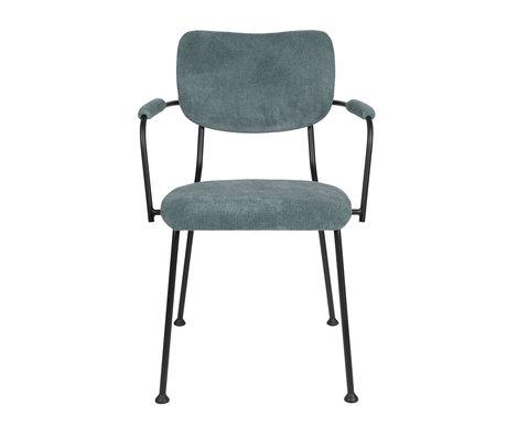 Zuiver Chaise de salle à manger avec accoudoir Benson gris bleu textile 55.5x56x81cm