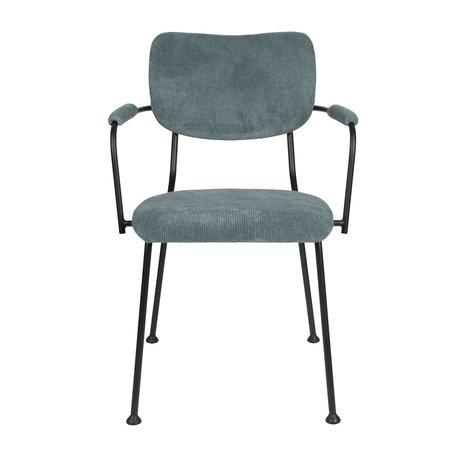 Zuiver Esszimmerstuhl mit Armlehne Benson grau blau Textil 55,5x56x81cm