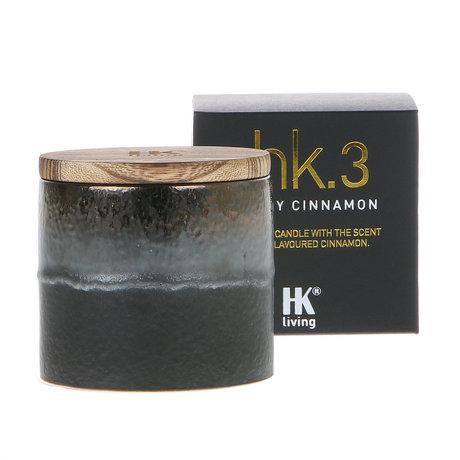 HK-living Bougie parfumée 3. bougie épicée cannelle soja céramique 9,5x9,5x9cm