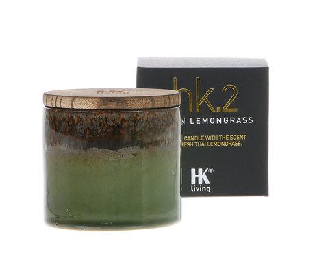 HK-living Bougie parfumée 2. céramique bougie de soja citronnelle asiatique 9,5x9,5x9cm