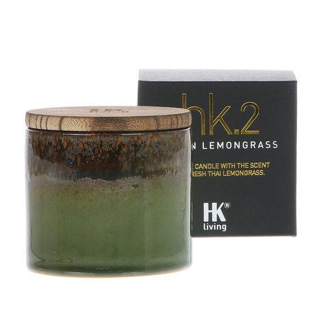 HK-living Geurkaars 2. Aziatisch citroengras soja kaars keramiek 9,5x9,5x9cm