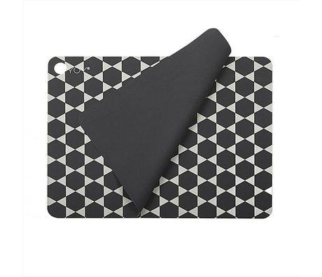 OYOY Placemat Hexagon donker grijs wit siliconen set van 2 45x34cm