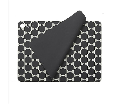 OYOY Set de table Hexagon en silicone blanc gris foncé set de 2 45x34cm