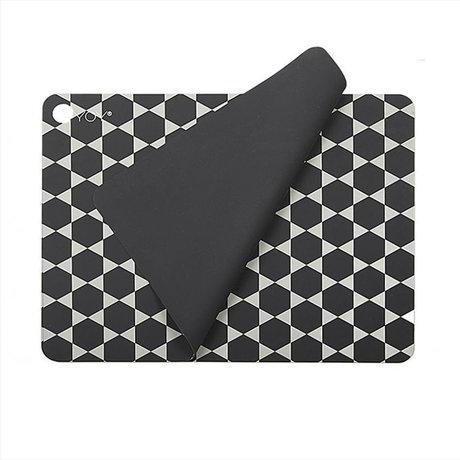 OYOY Tischset Hexagon dunkelgrau weiß Silikon 2er Set 45x34cm