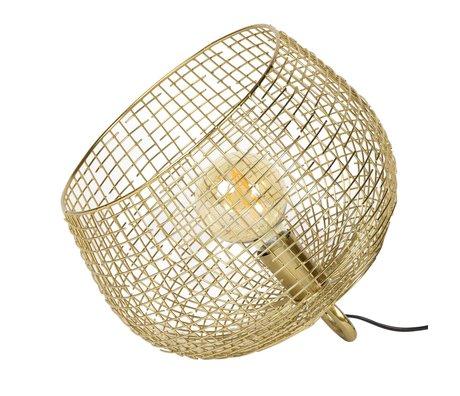 wonenmetlef Lampe à poser panier en fil métallique doré 33x33x31cm