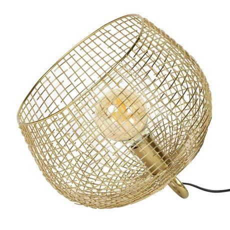 wonenmetlef Tafellamp basket wire Goudkleurig metaal 33x33x31cm