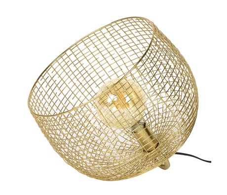 wonenmetlef Tischlampe Korb Draht Goldfarbenes Metall 39x39x31cm