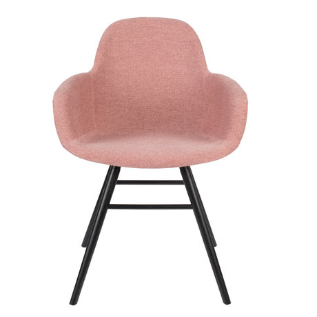 Zuiver Dining room chair with armrest Albert Kuip Soft pink textile 49x55x81.5cm