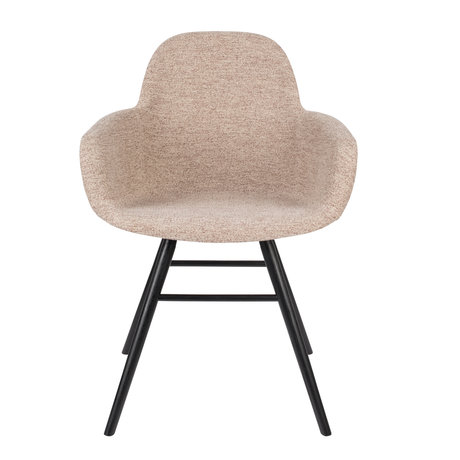 Zuiver Dining room chair with armrest Albert Kuip Soft beige textile 49x55x81,5cm