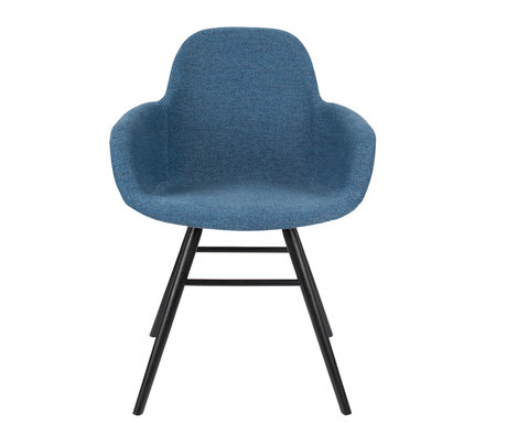 Zuiver Chaise de salle à manger avec accoudoir Albert Kuip Textile bleu doux 49x55x81.5cm