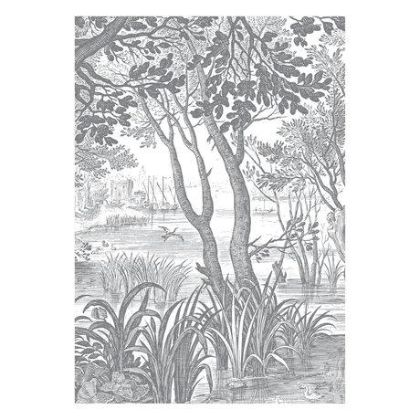 KEK Amsterdam Tapete Gravierte Landschaften schwarz-weiß Vliestapete 194,8 x 280 cm (4 Blatt)