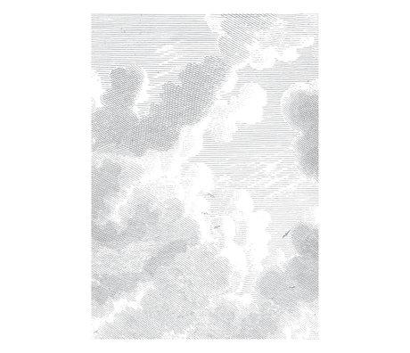 KEK Amsterdam Wallpaper Engraved Clouds black and white non-woven wallpaper 194.8 x 280 cm (4 sheets)