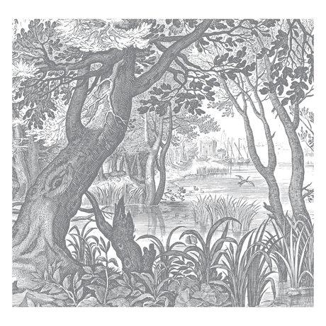 KEK Amsterdam Papier peint gravé Paysages noir et blanc papier peint intissé 292.2x280cm (6 feuilles)