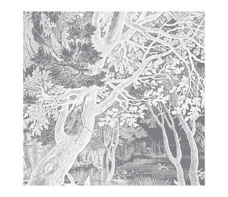 KEK Amsterdam Wallpaper Engraved Landscapes black and white non-woven wallpaper 292.2x280cm (6 sheets)
