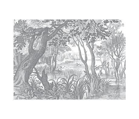 KEK Amsterdam Tapete Gravierte Landschaften schwarz-weiß Vliestapete 389.6x280cm (8 Blatt)