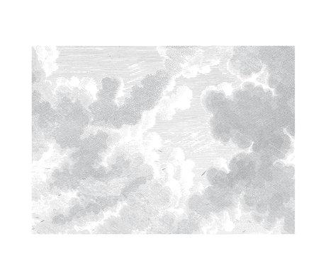 KEK Amsterdam Behang Engraved Clouds zwart wit vliesbehang 389,6x280cm (8 sheets)