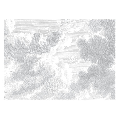 KEK Amsterdam Wallpaper Engraved Clouds black and white non-woven wallpaper 389,6x280cm (8 sheets)
