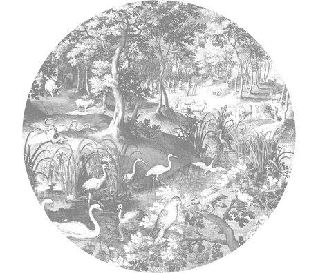 KEK Amsterdam Behang cirkel XL Engraved landscapes zwart wit vliesbehang Ø237,5cm