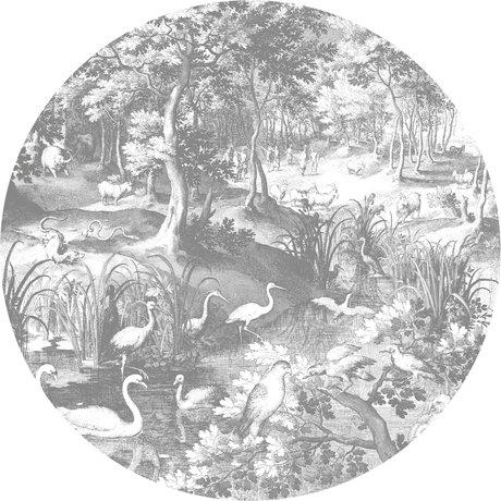 KEK Amsterdam Papier peint cercle XL Paysages gravés papier peint intissé noir et blanc Ø237.5 cm
