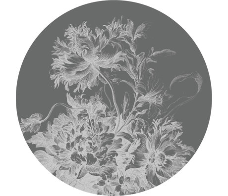 KEK Amsterdam Behang cirkel XL Engraved flowers zwart wit vliesbehang Ø237,5cm