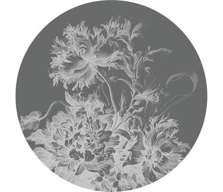 KEK Amsterdam Tapetenkreis XL Gravierte Blumen Schwarz-Weiß-Vlies-Tapete Ø237,5 cm
