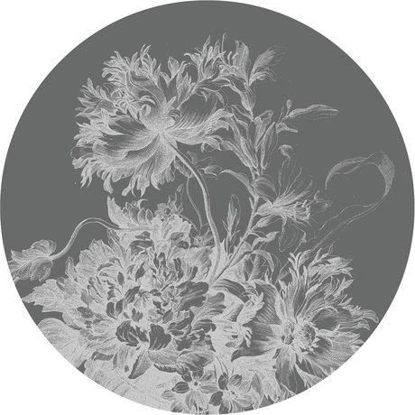 KEK Amsterdam Papier peint cercle XL Fleurs gravées papier peint intissé noir et blanc Ø237,5cm