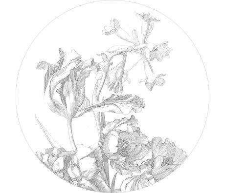 KEK Amsterdam Papier peint cercle Papier peint intissé gravé fleurs noires blanches Ø190cm