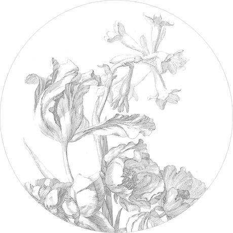 KEK Amsterdam Tapetenkreis Gravierte schwarz-weiße Blumen-Vlies-Tapete Ø190cm