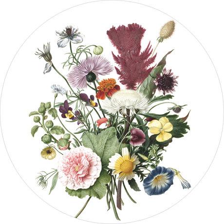 KEK Amsterdam Behang cirkel Wild flowers multicolour vliesbehang Ø190cm