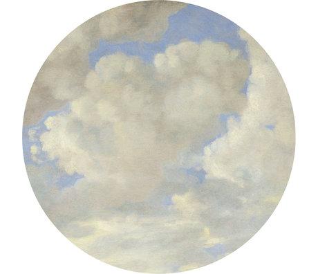 KEK Amsterdam Papier peint cercle Nuages d'Âge d'or papier peint intissé bleu et blanc Ø190cm