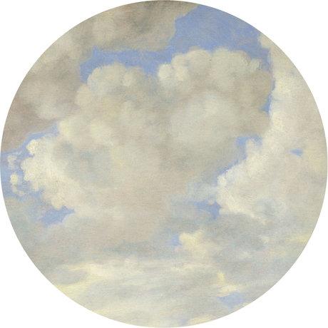 KEK Amsterdam Papier peint cercle Golden Age nuages papier peint intissé bleu blanc Ø190cm