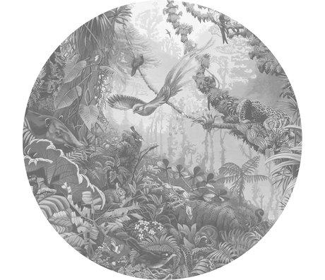 KEK Amsterdam Papier peint cercle Papier peint intissé paysages tropicaux noir et blanc Ø190cm