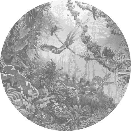 KEK Amsterdam Behang cirkel Tropical landscapes zwart wit vliesbehang Ø190cm