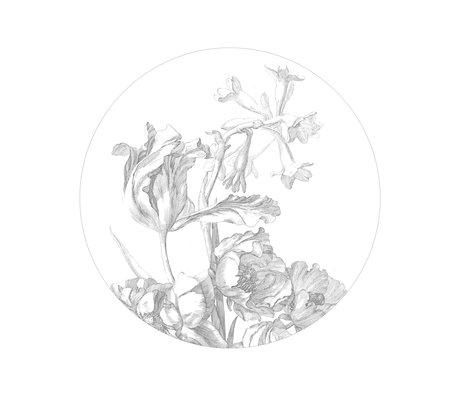 KEK Amsterdam Papier peint cercle Petites fleurs gravées Papier peint intissé noir et blanc Ø142,5cm