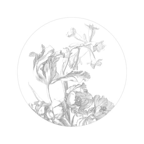 KEK Amsterdam Tapetenkreis Kleine gravierte Blumen Schwarz-Weiß-Vlies-Tapete Ø142,5 cm